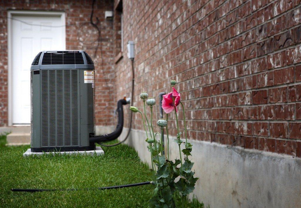 Modern AC heater in the backyard