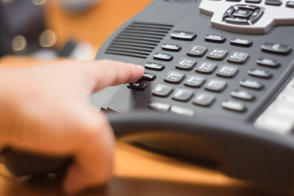 a phone in a call center