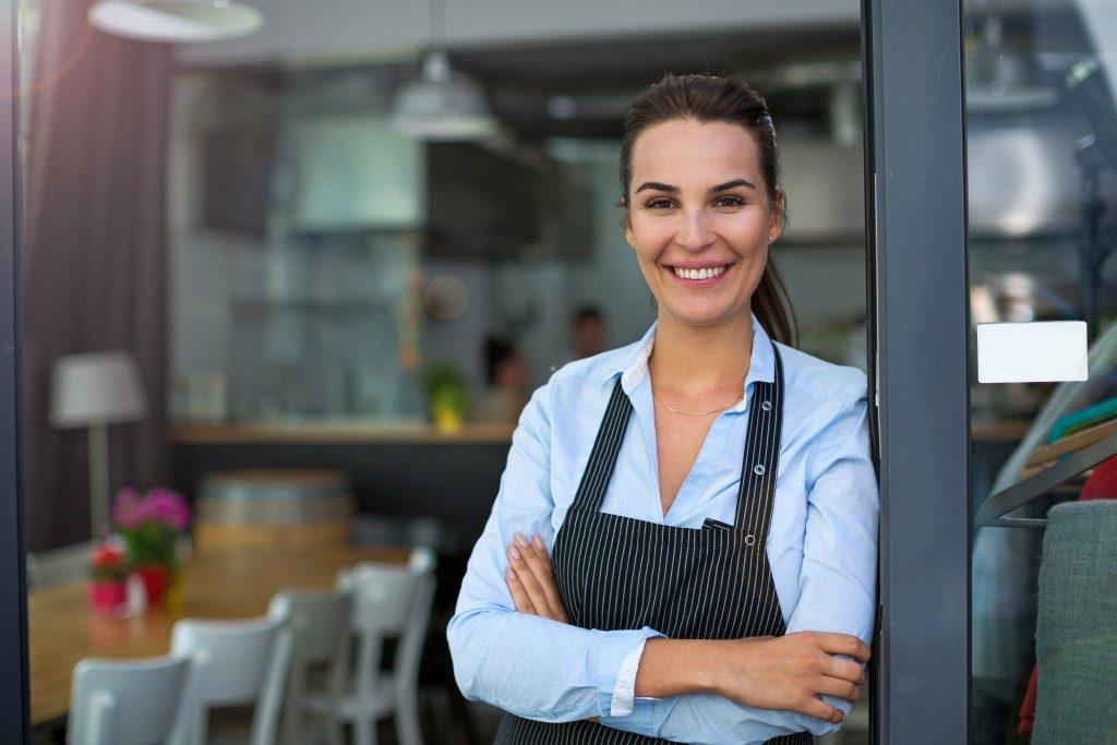 Restaurant owner posing