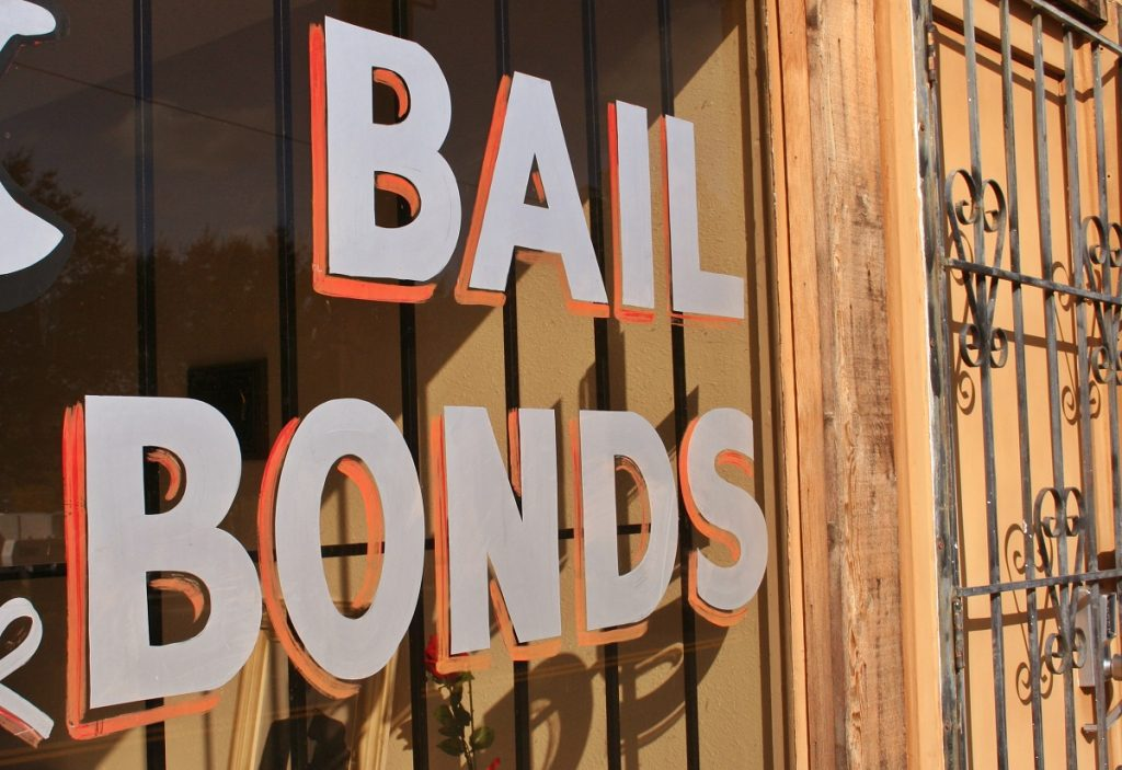 bail bond sign in a window