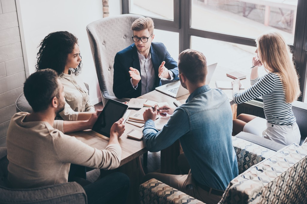 group of employees having a meeting