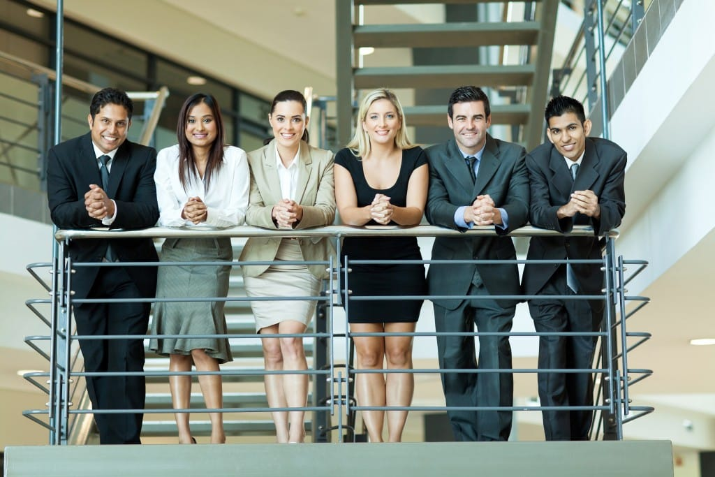 employees on the staircase