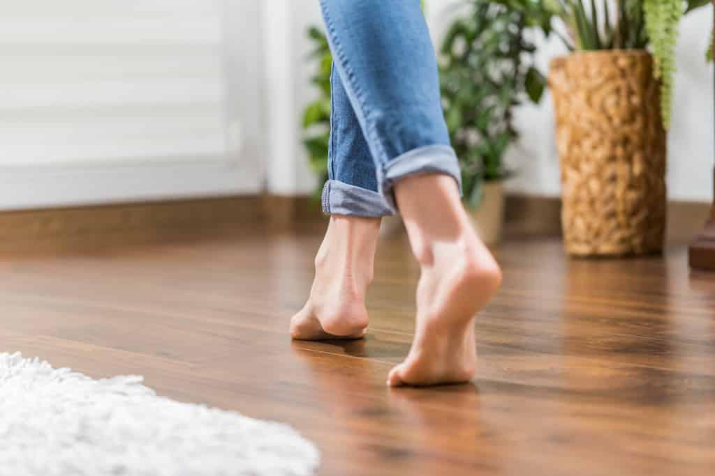 walking barefoot indoors