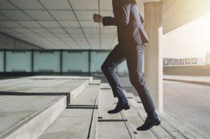 man walking on steps