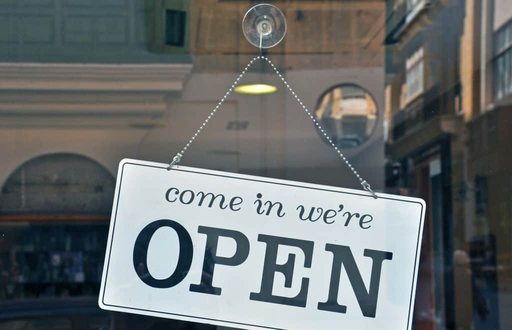 Open sign in business