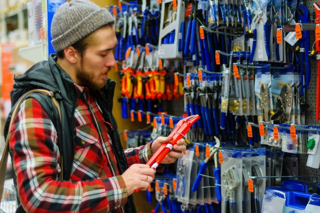 man shopping tools