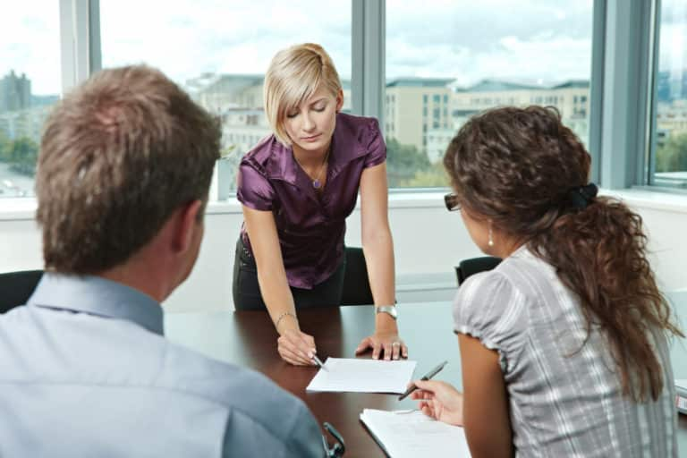 woman meeting with employees